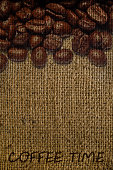 texture of sacking with coffee watermark