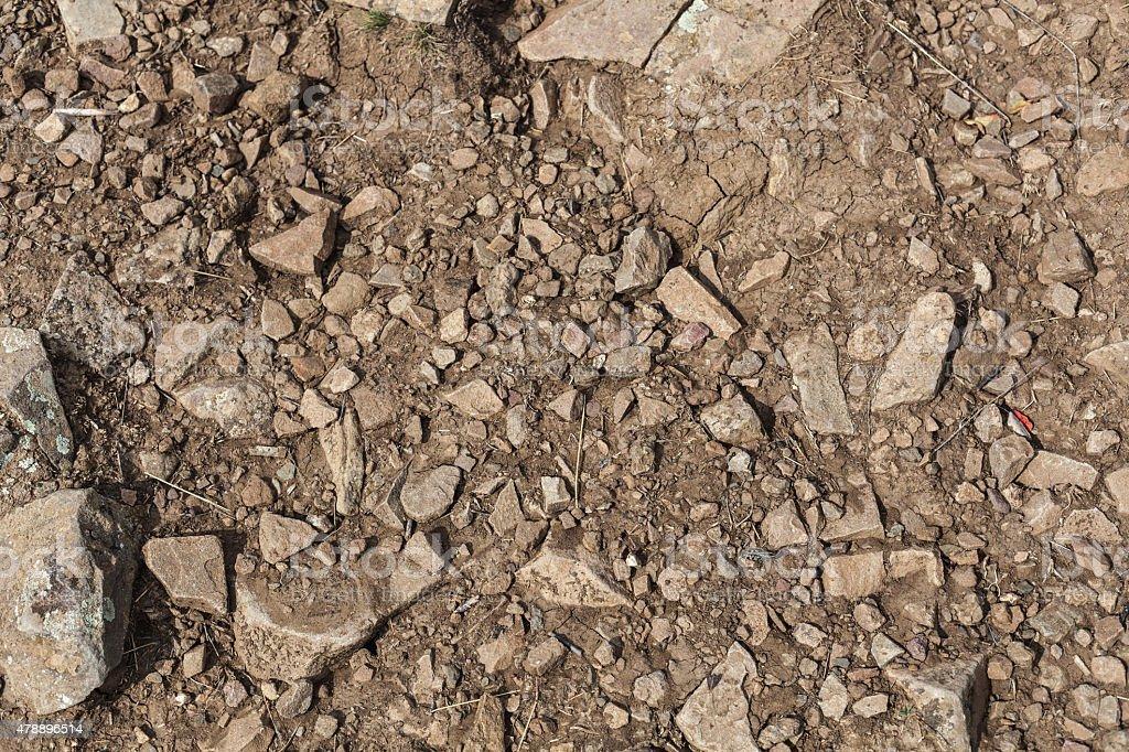 texture of sharp sea stones of different sizes stock photo