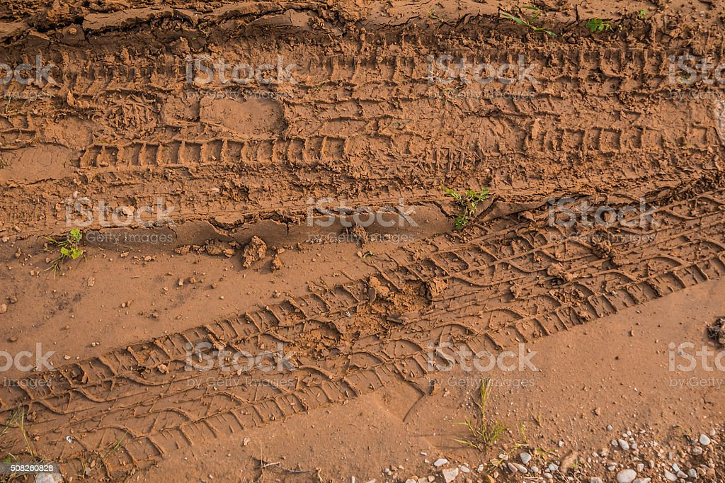 Texture of wet brown mud with car tyre tracks stock photo