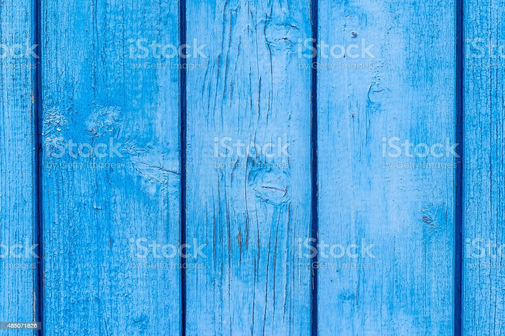 texture old boards with peeling of blue color stock photo