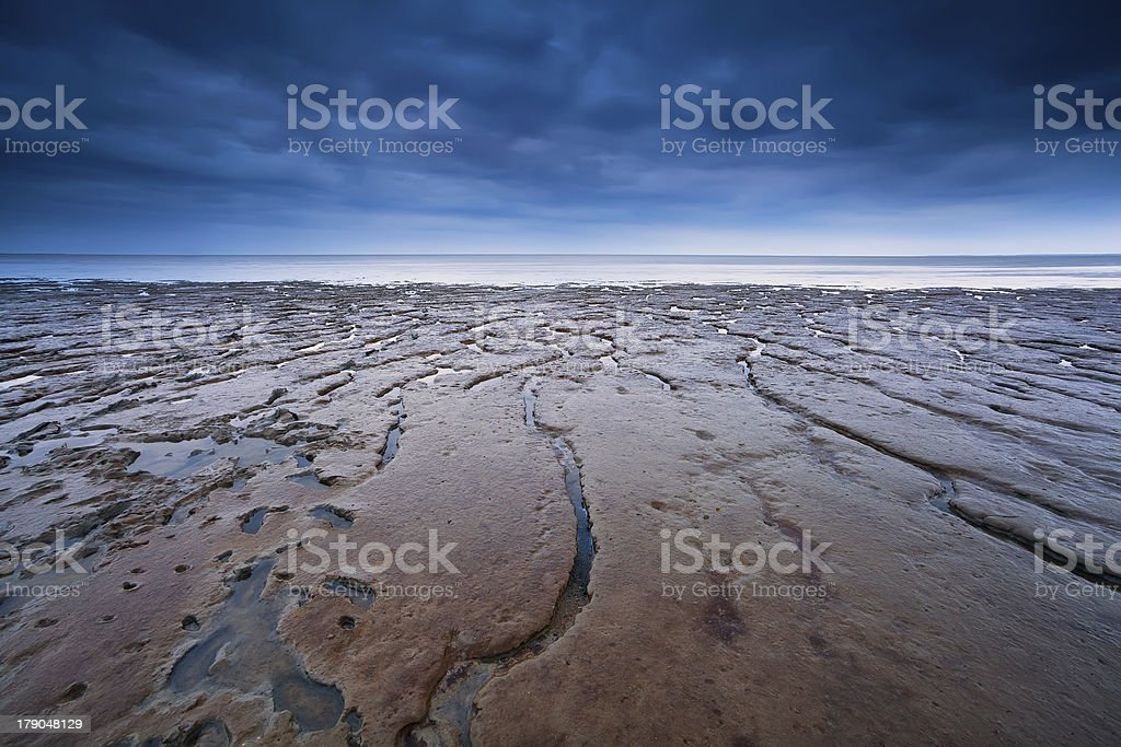 texture on mud at low tide stock photo