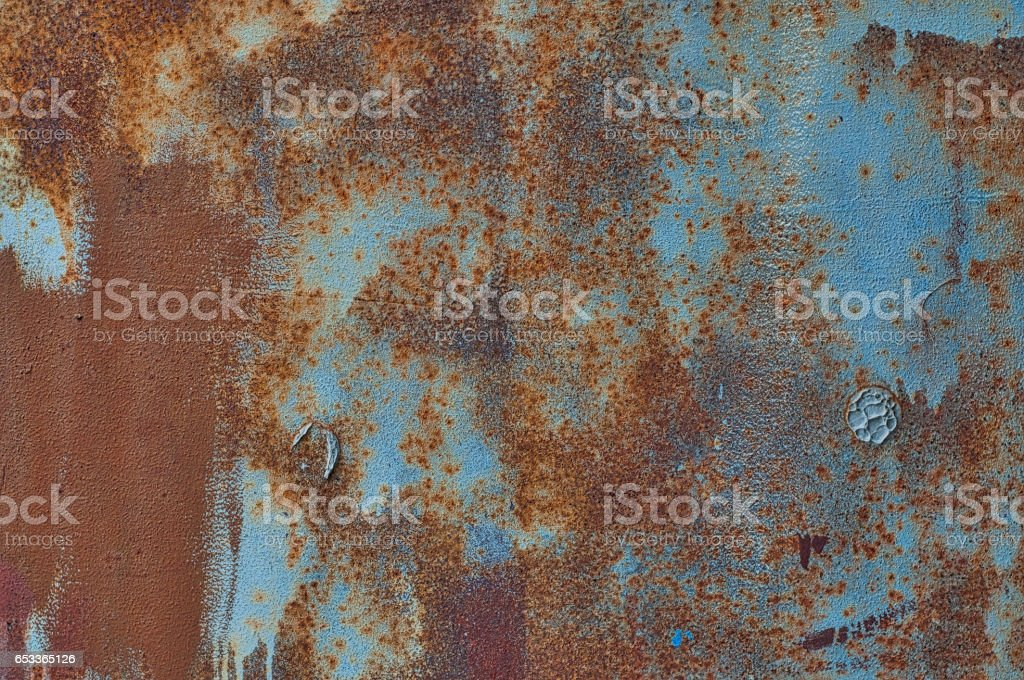 Texture painted blue with brown metal corrosion stock photo