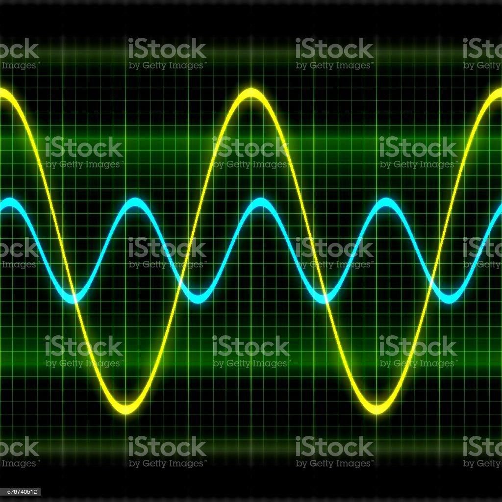 Texture wave oscilloscope 3D illustration stock photo