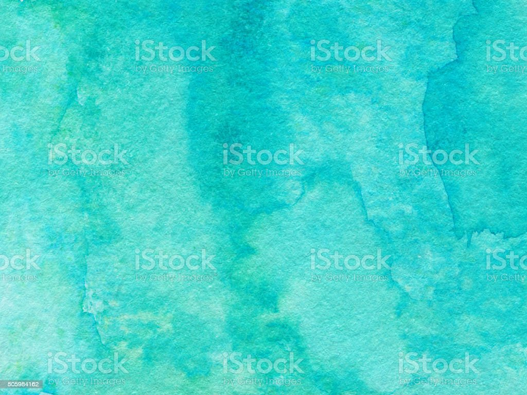 Textured background hand painted with bright blue turquoise color stock photo