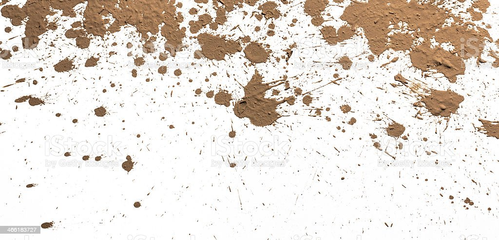 Textured clay splatter all over a white background stock photo