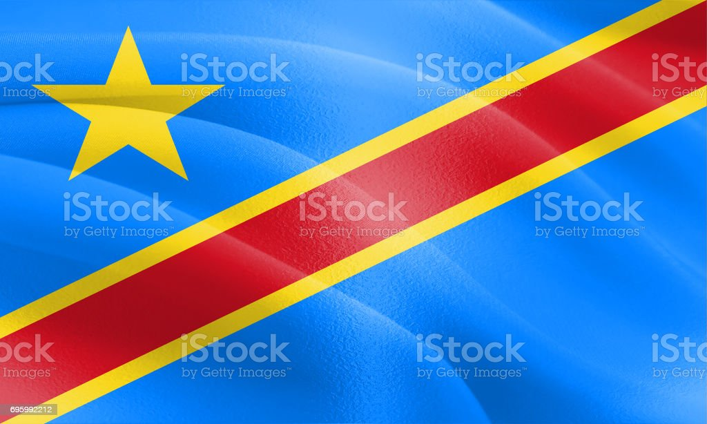 Textured Flag of The Democratic Republic off the Congo ideal for backdrops stock photo