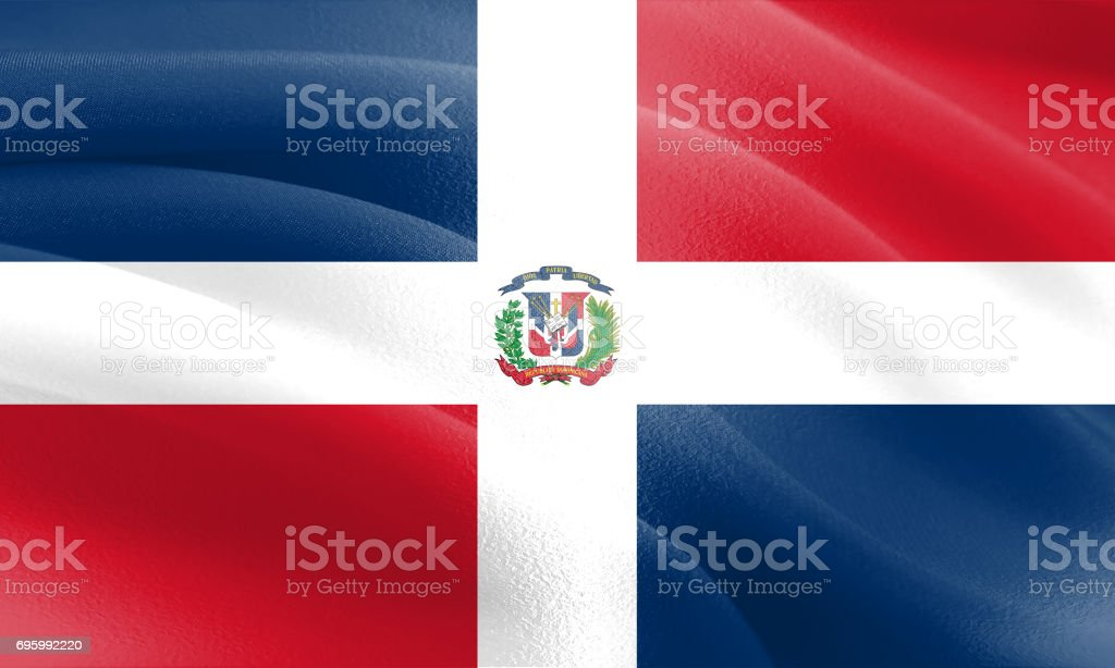Textured Flag of The Dominican Republic ideal for backdrops stock photo