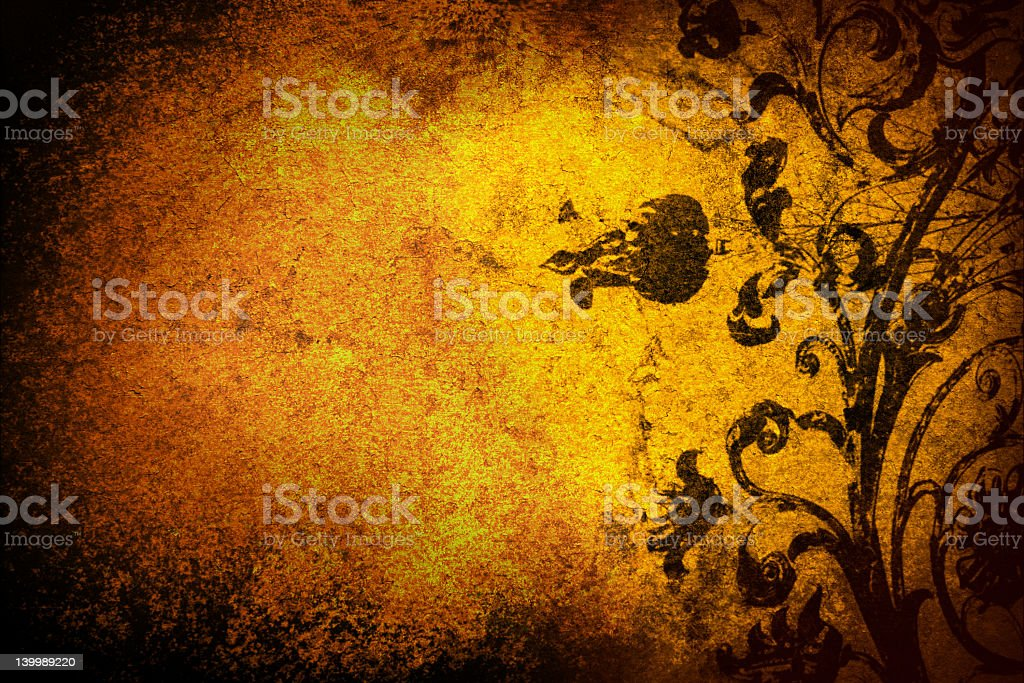 Textured gold background with black abstract design royalty-free stock photo