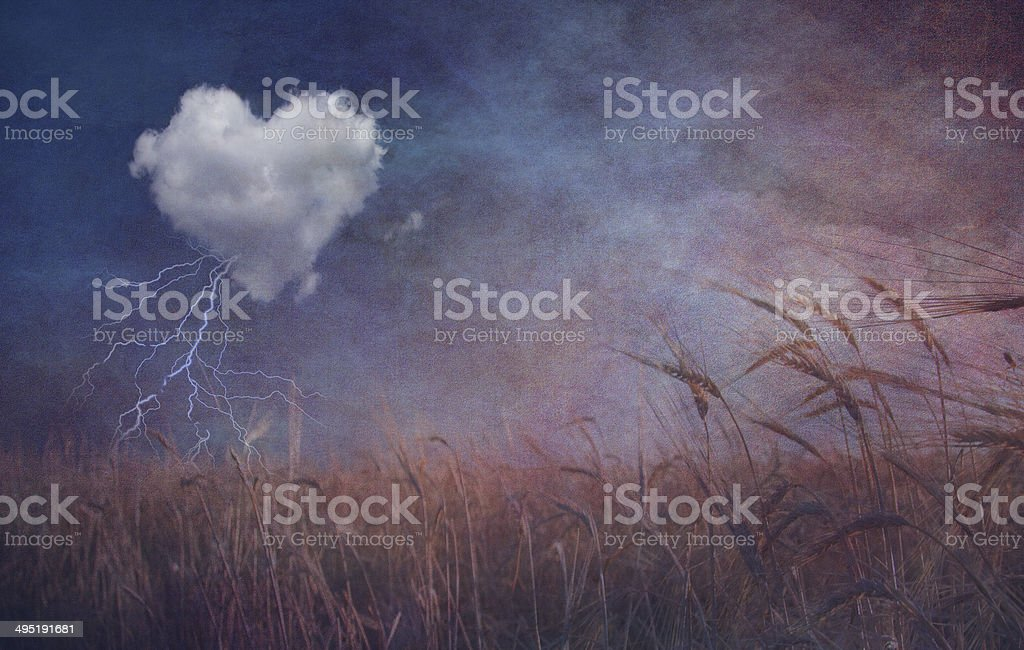 Textured heart cloud and open field stock photo