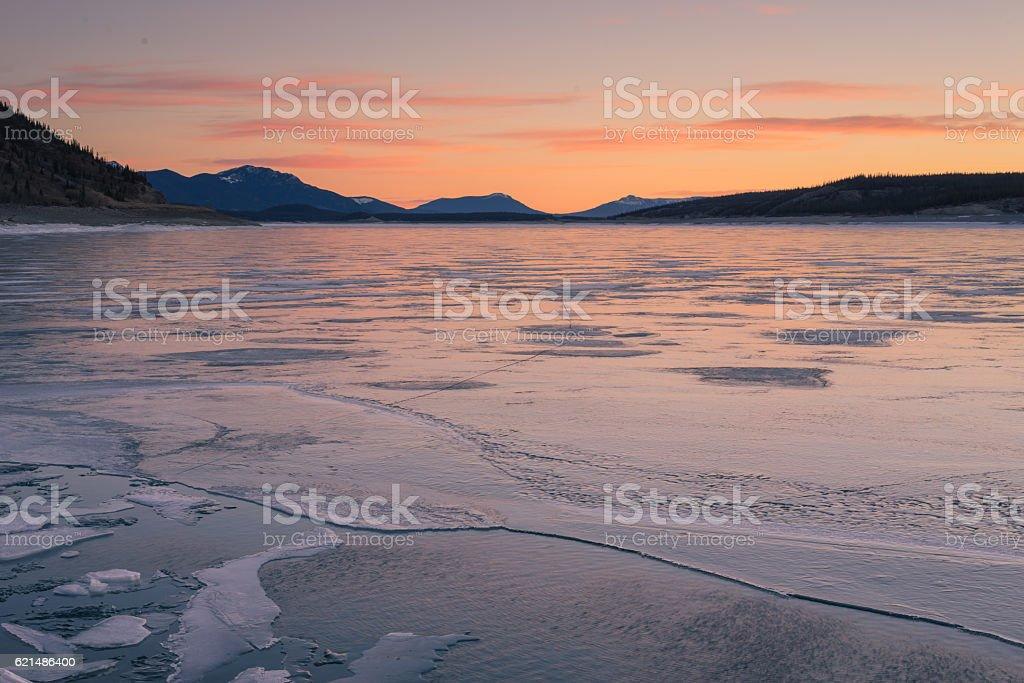 Textured Ice of Abraham Lake stock photo