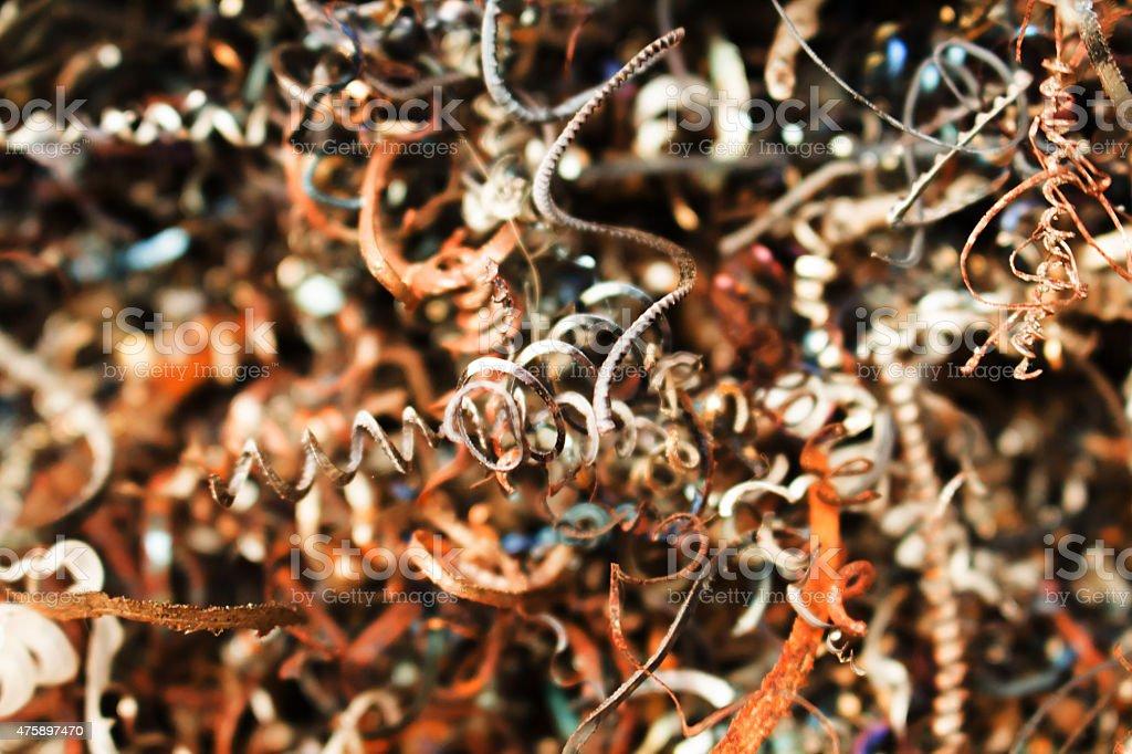 Textured metal scrap background, shallow stock photo