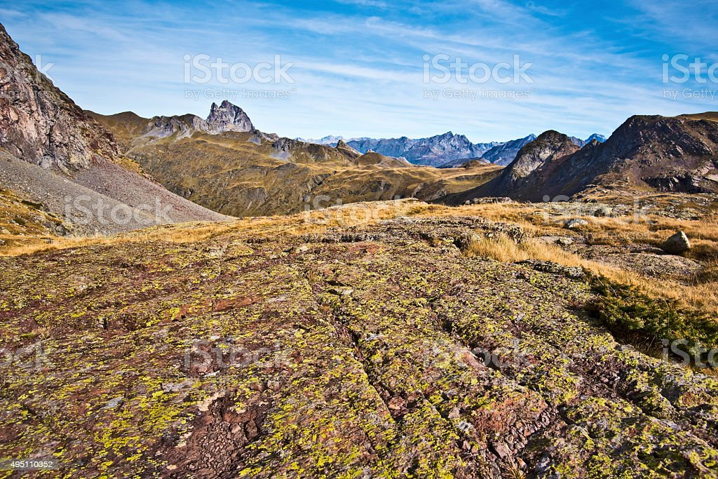 Textured stone surface in Anayet plateau and Peak Midi Ossau stock photo