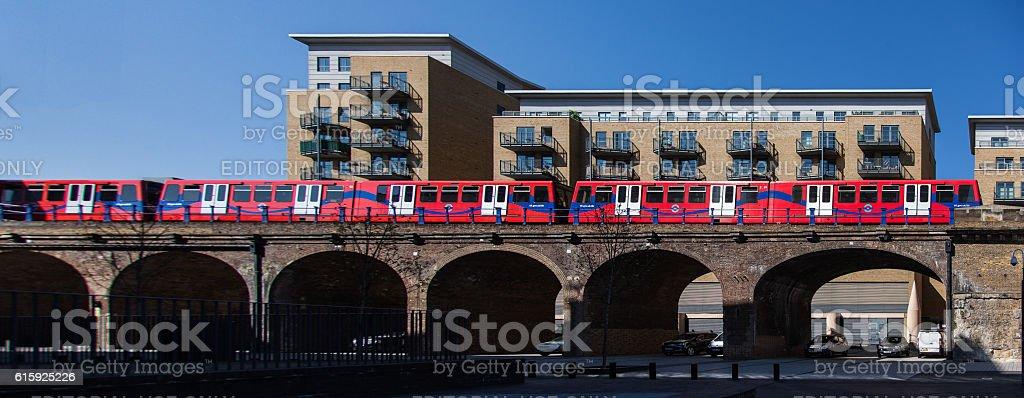 TfL DLR Train on a viaduct stock photo