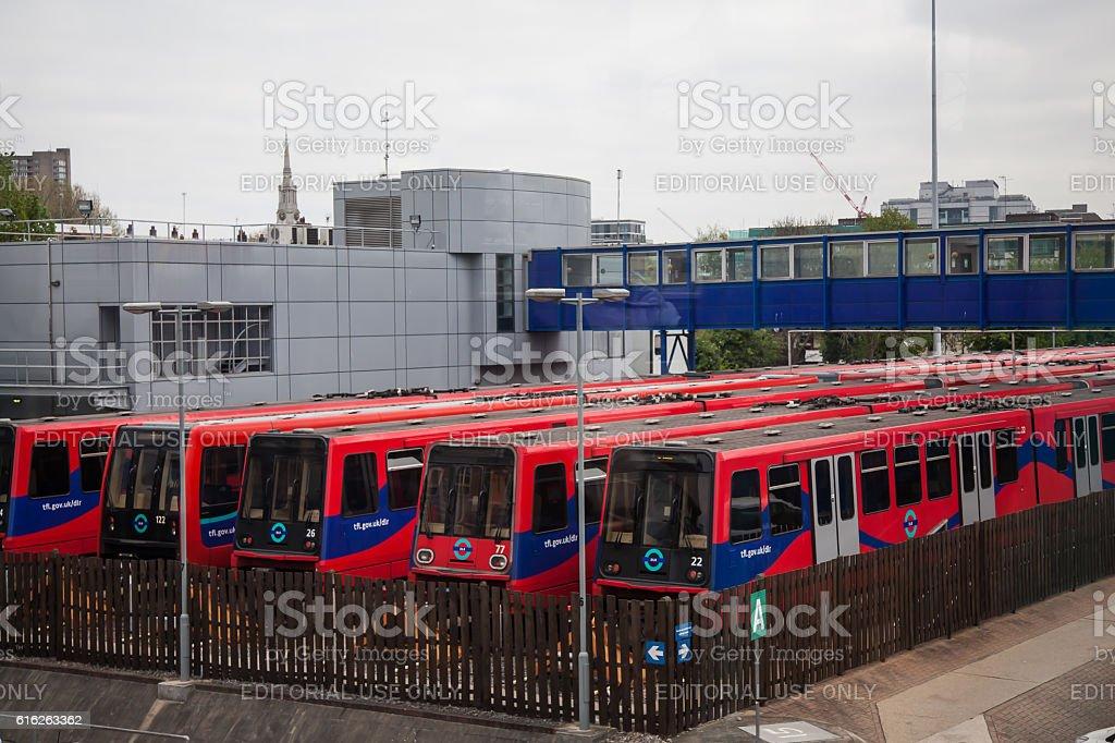 DLR TfL Train Depot next to Docklands. stock photo