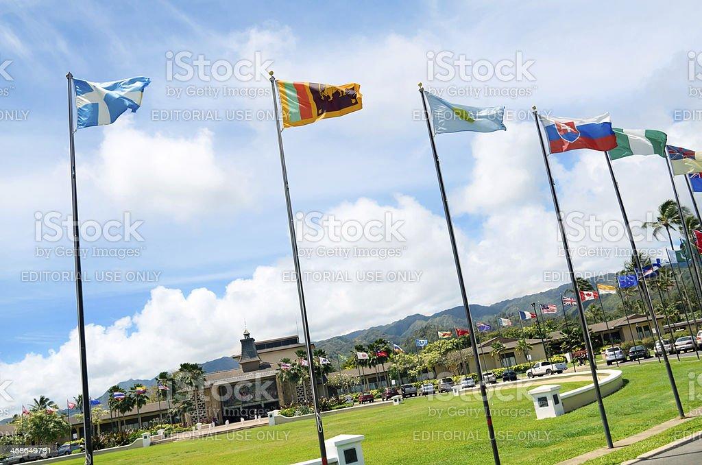 tFlags at the Brigham Young Universiy-Hawaii campus stock photo