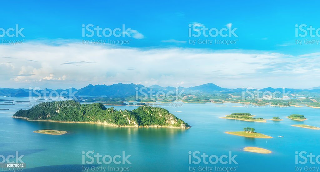 Thac Ba hydropower lake Park stock photo