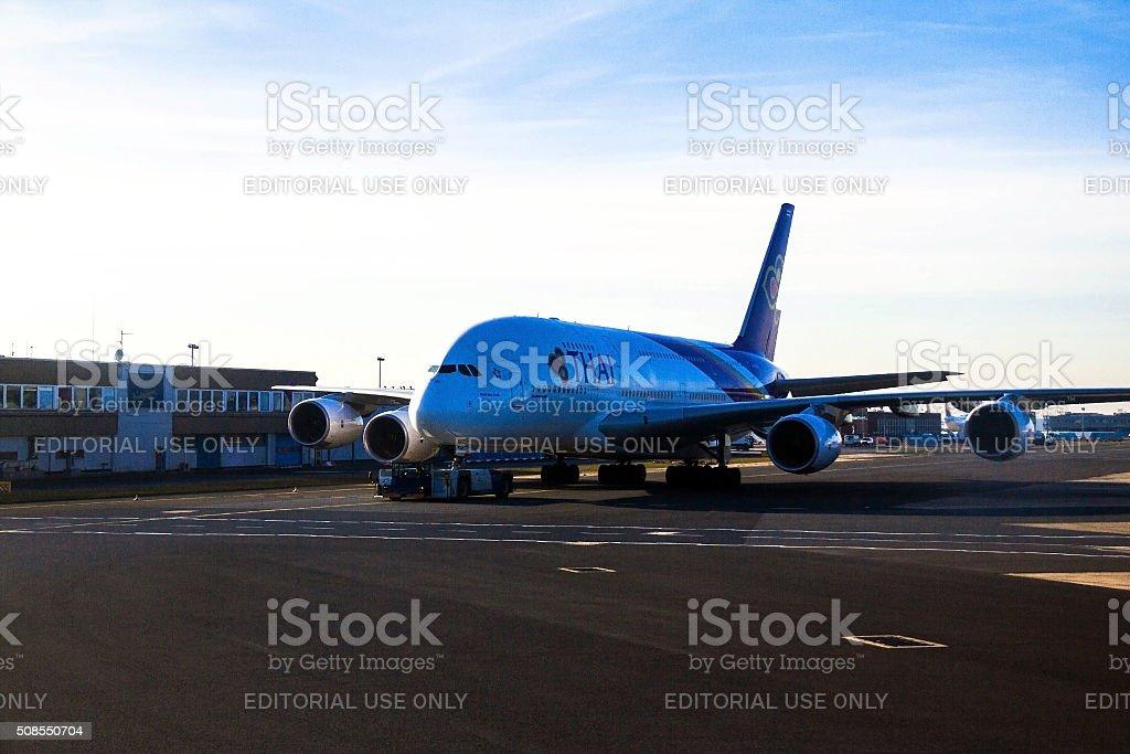 Thai Airways Airbus A380 in Frankfurt am Main airport stock photo