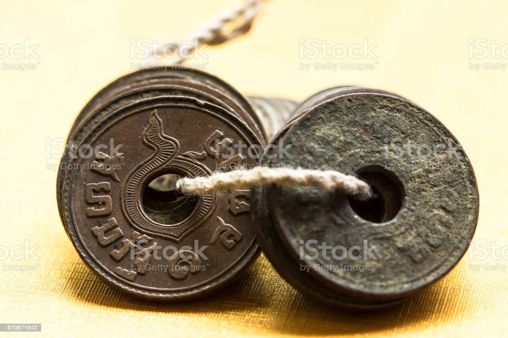 Thai Ancient Coins stock photo
