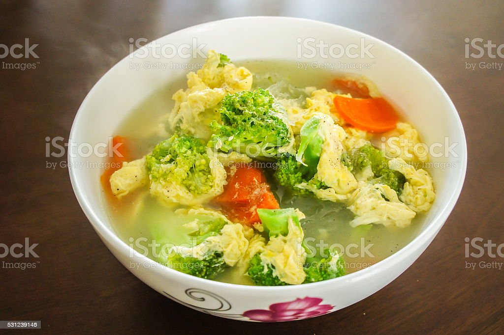 Thai and Asian style mildly seasoned soup stock photo