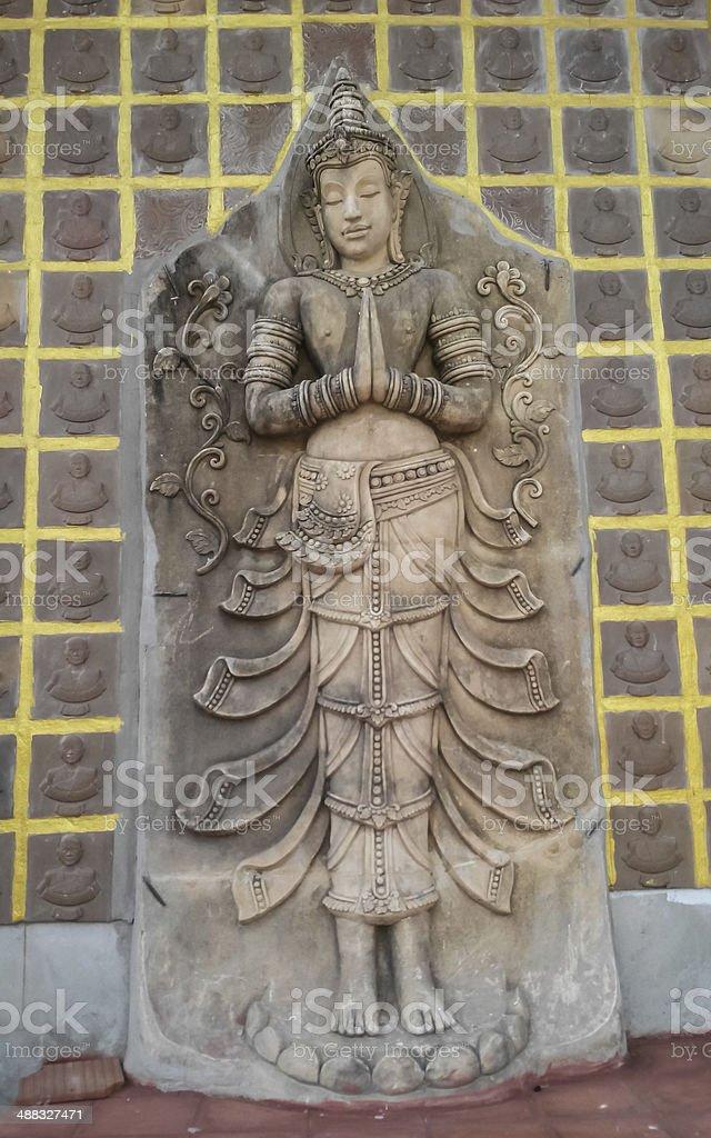 Thai angel in Temple stock photo