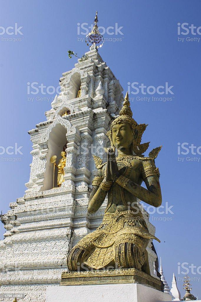 Thai angel in Wat Ban Den, Maetang Chiangmai Thailand royalty-free stock photo