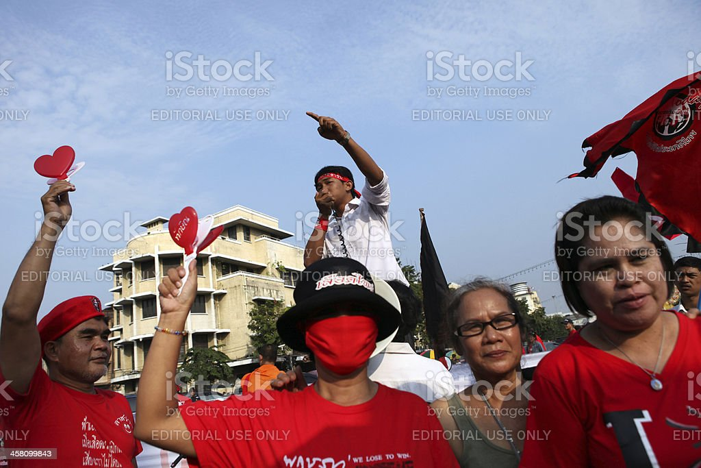 Thai anti-government 'Red Shirt' prote royalty-free stock photo