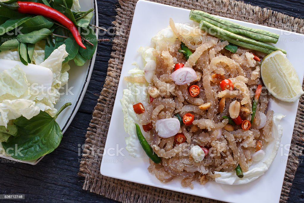 Thai appetizer food called 'Mooh Nam'.  Minced and pounded roast stock photo