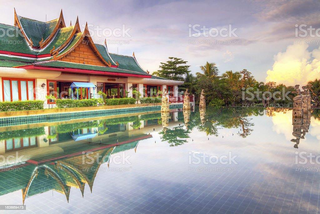 Thai architecture at sunrise royalty-free stock photo