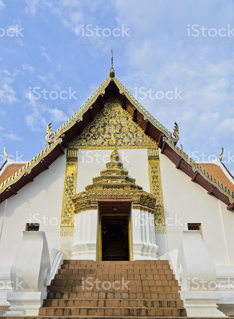 Thai architecture of buddhist temple royalty-free stock photo