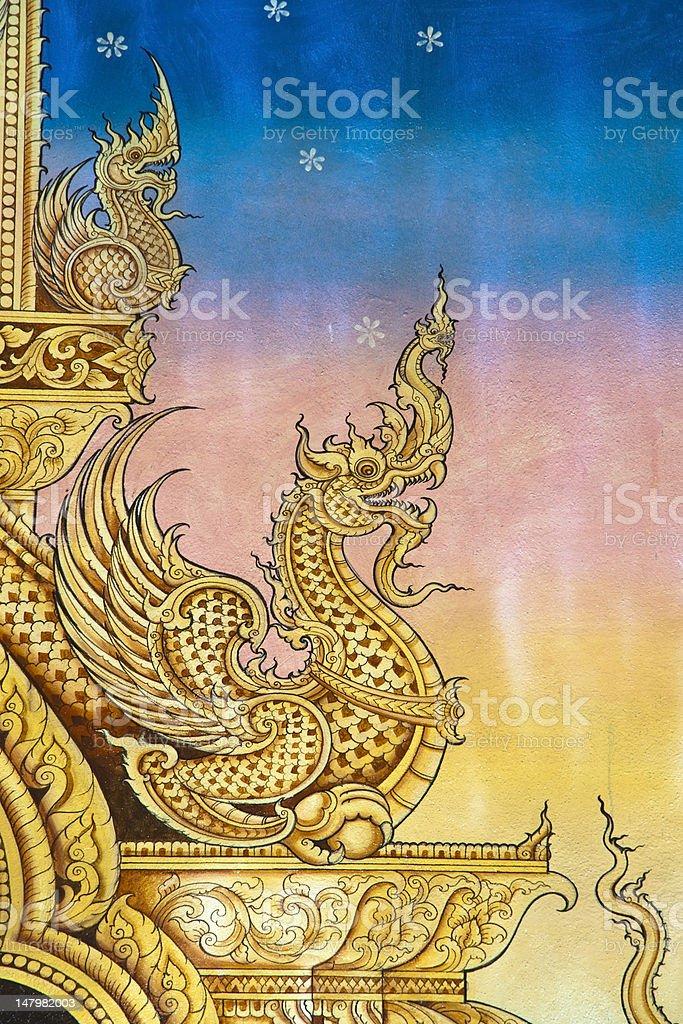 Tajskiej sztuki ścianie wzór zbiór zdjęć royalty-free