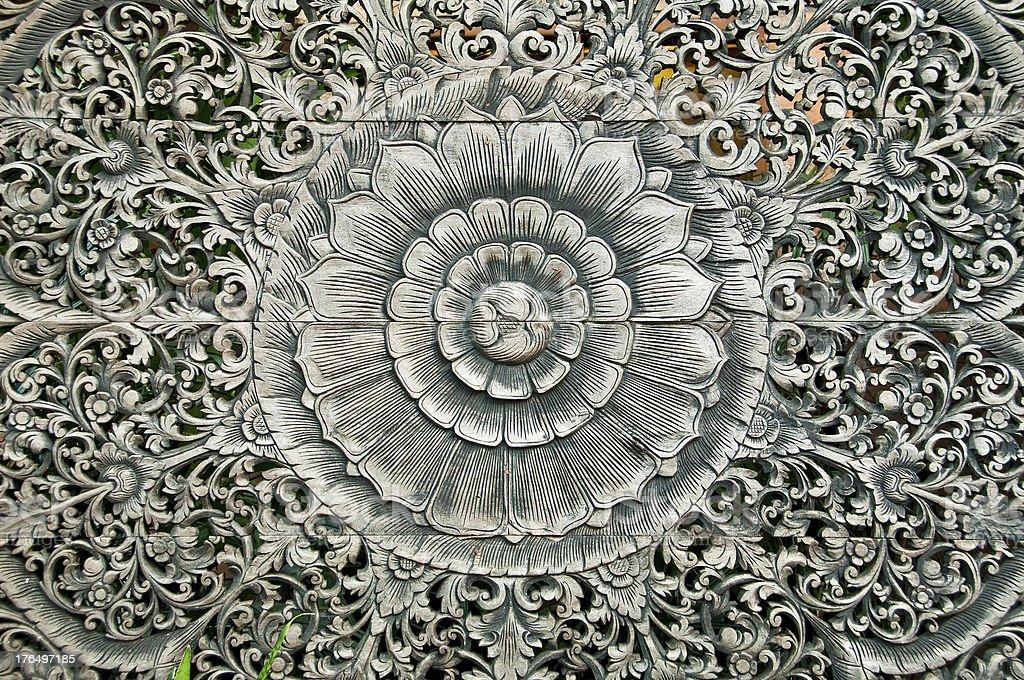 Thai art woodcraft as lotus flower. royalty-free stock photo