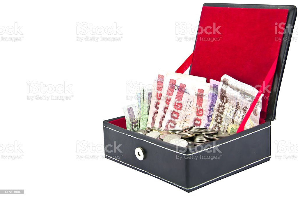 Thai banknote and coin in velvet box on white background royalty-free stock photo