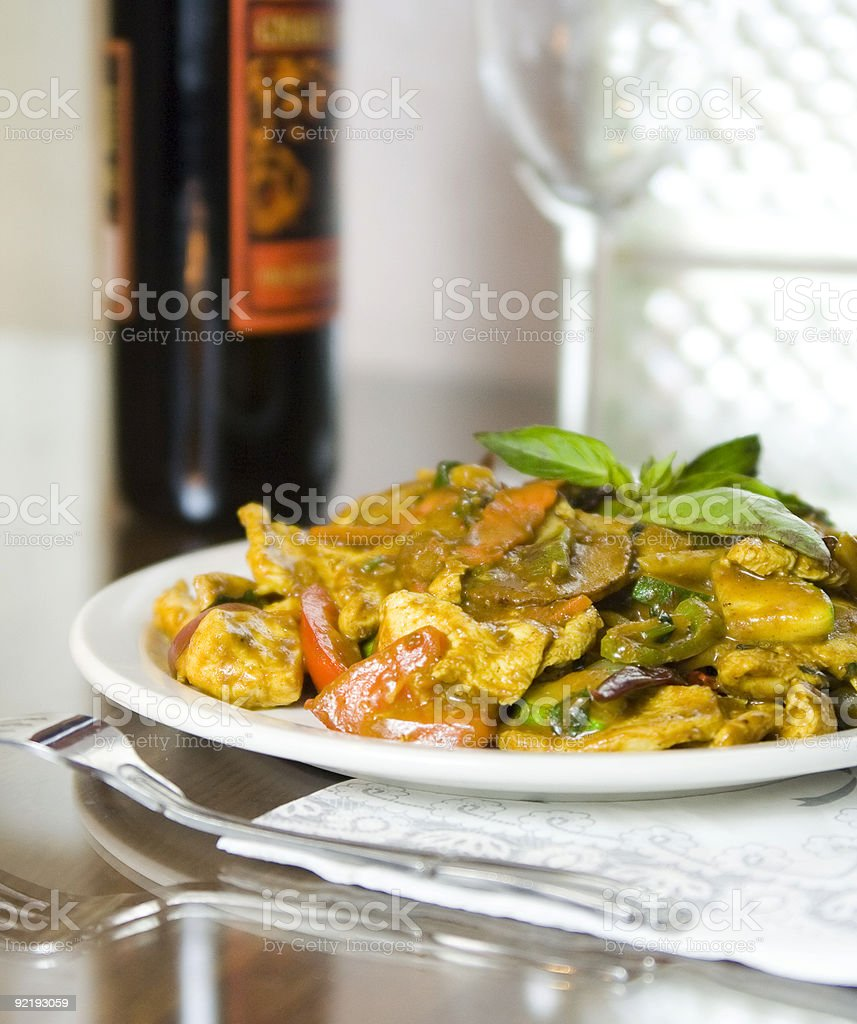 Thai Basil Curry Chicken 2 royalty-free stock photo