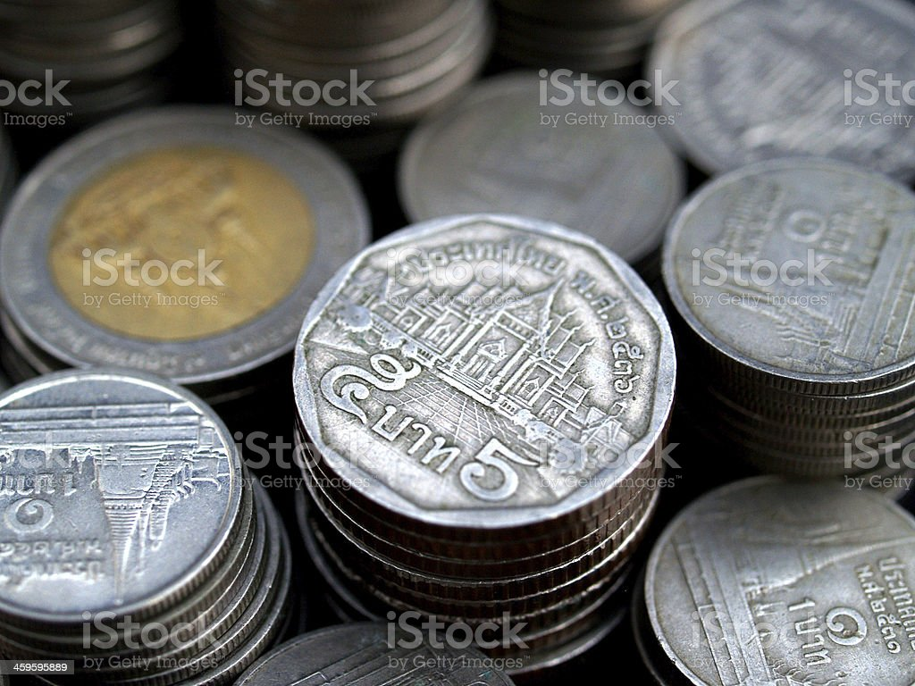 thai bath  coin money stack background stock photo