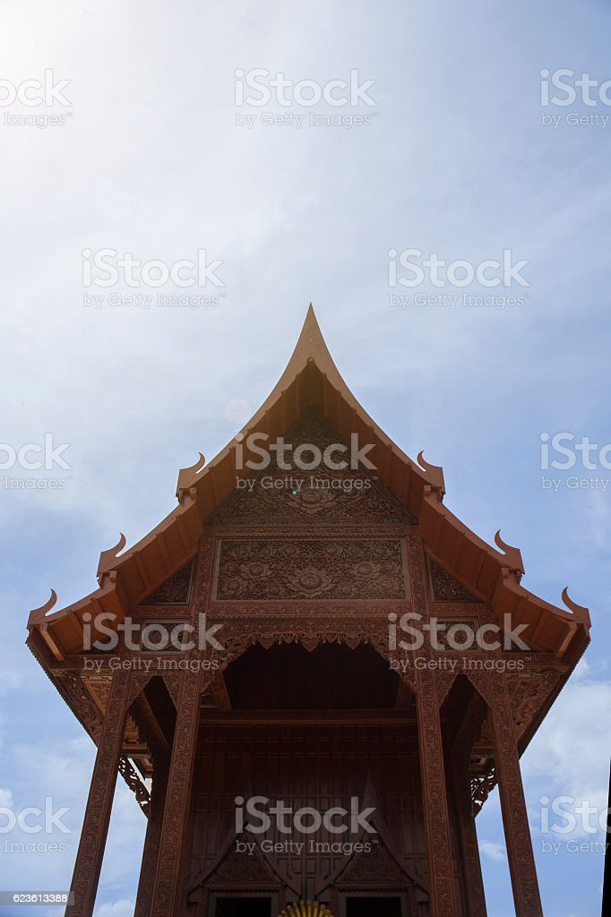 thai beautiful wooden temple stock photo