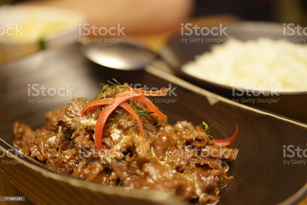 Thai beef curry with coconut milk stock photo