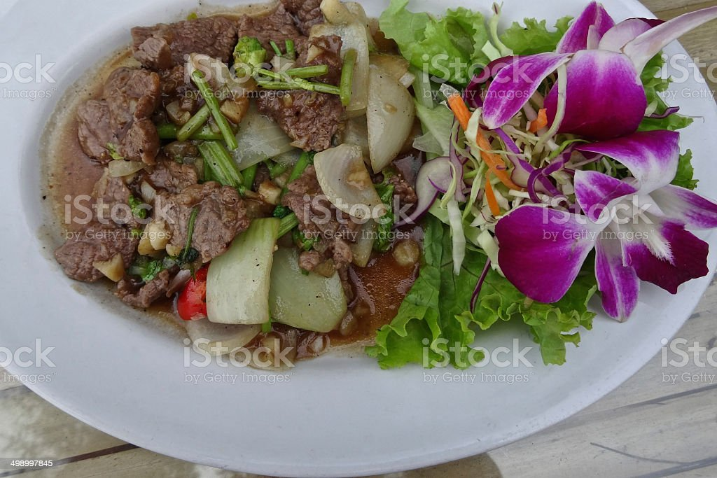 Thai beef curry with salad garnish on a white plate royalty-free stock photo