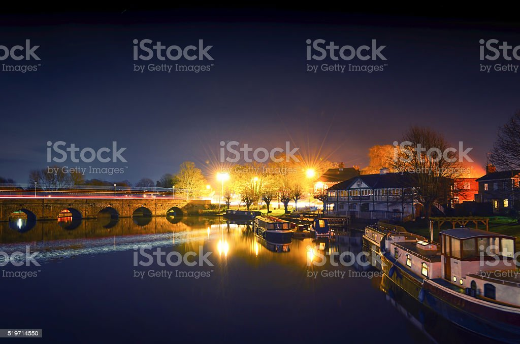 Thai Boat House and The Avon River stock photo