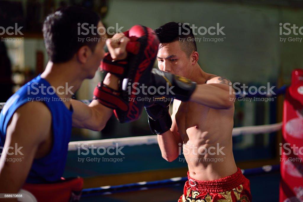 Thai boxing training stock photo