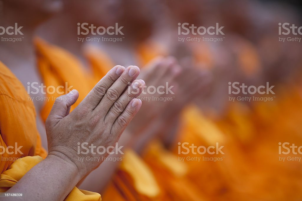 Thai Buddhist monks paying respect. stock photo