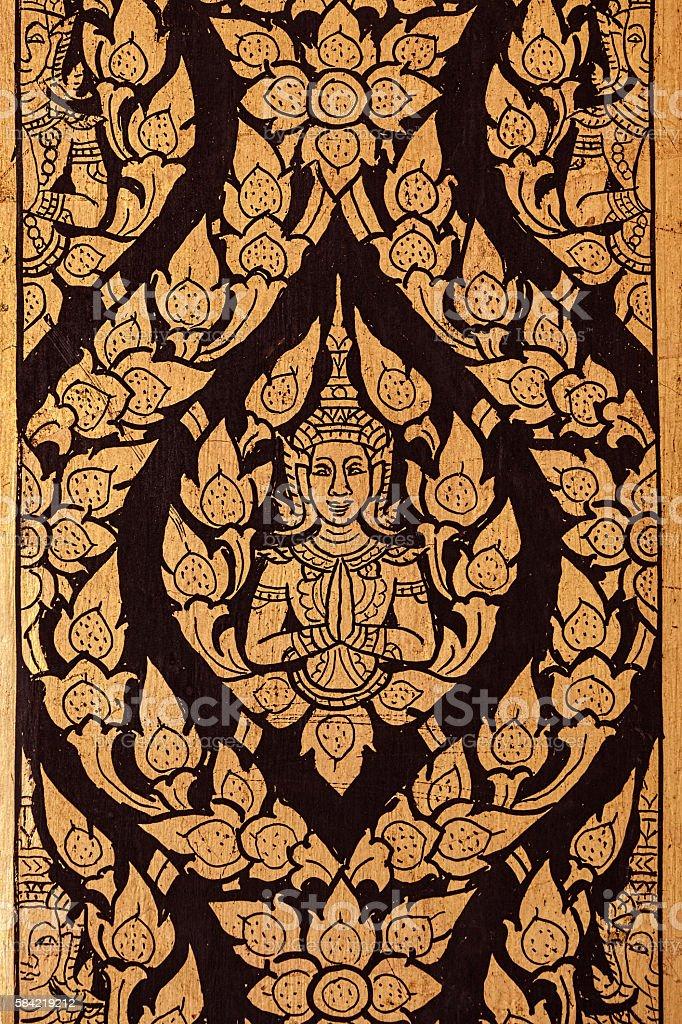 Thai Buddhist temple column decoration. stock photo