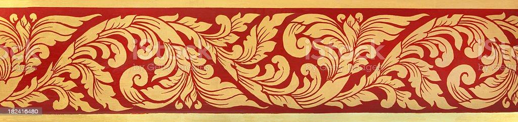 Thai Buddhist temple motif mural background. stock photo