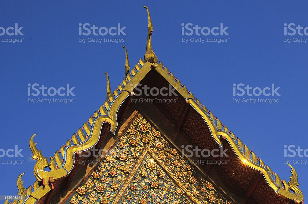 Thai Buddhist Temple Roof top royalty-free stock photo