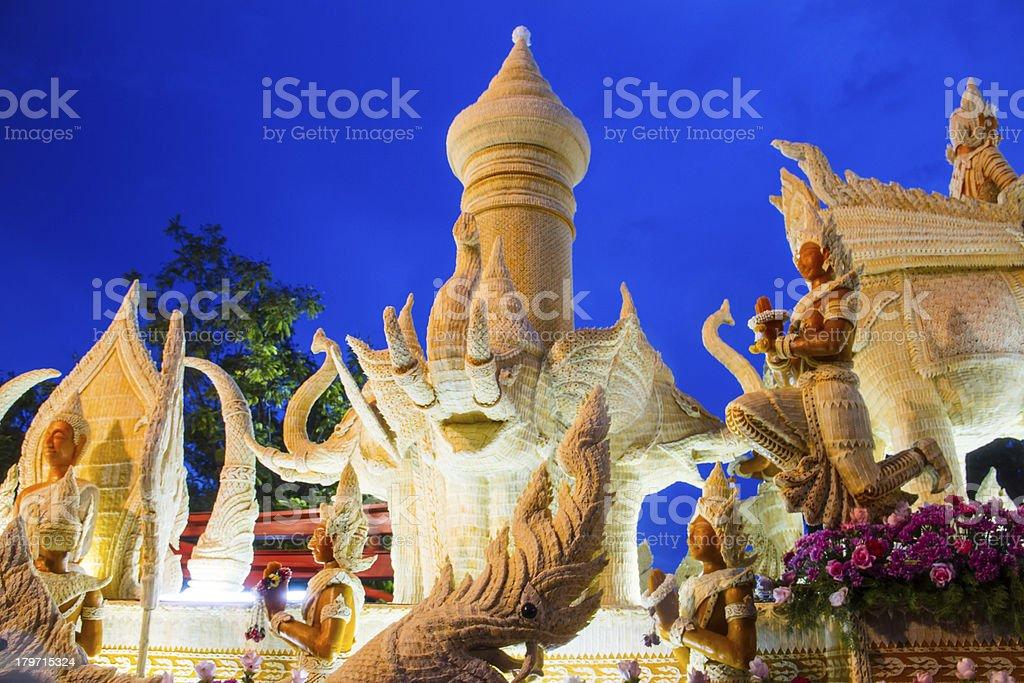 Thai candle festival of buddha at Ubonratchathani city in thailand. royalty-free stock photo