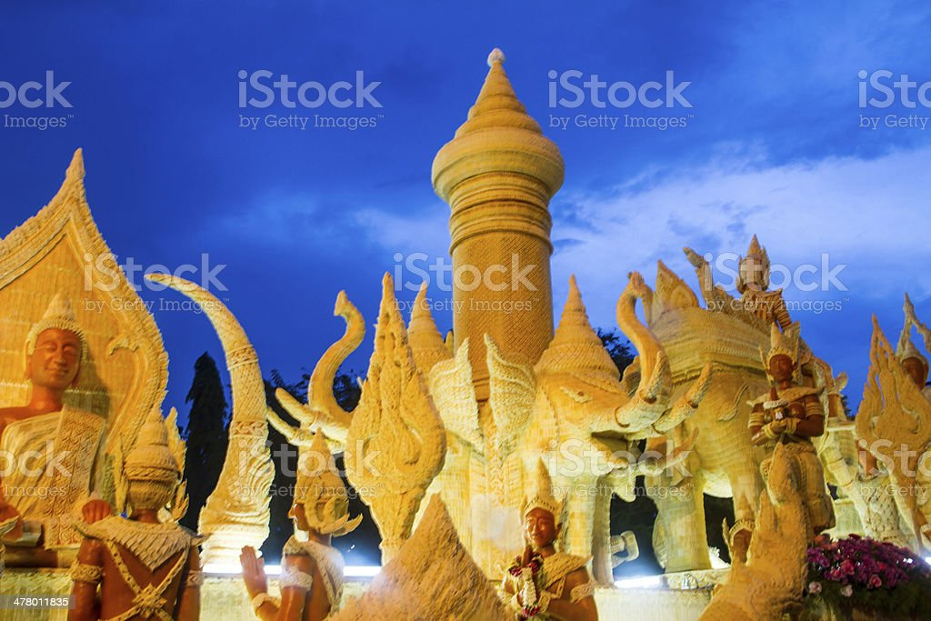 Thai candle festival of buddha at Ubonratchathani city in thailand. royalty-free stock photo