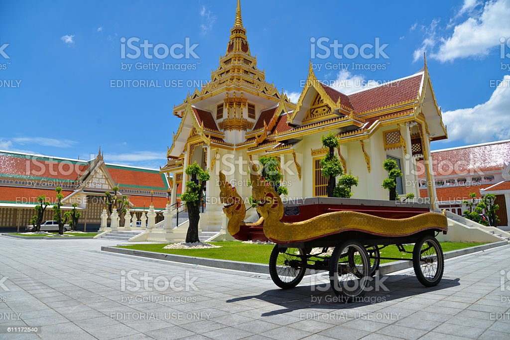 Thai cart with serpents for carry casket to crematory stock photo