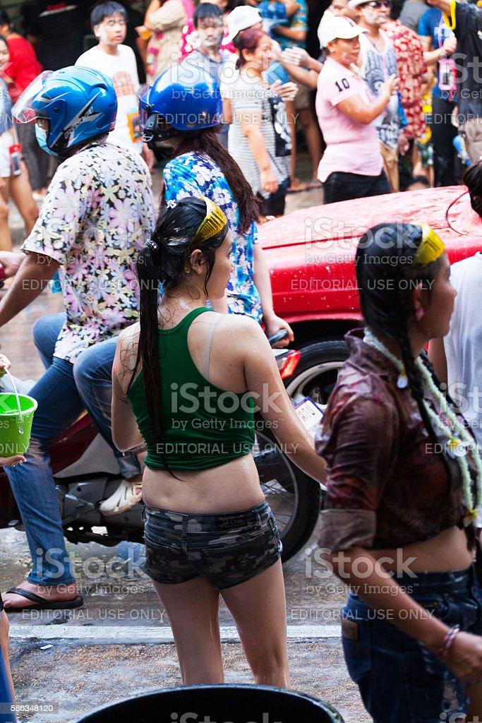 Thai celebrating Songkran stock photo