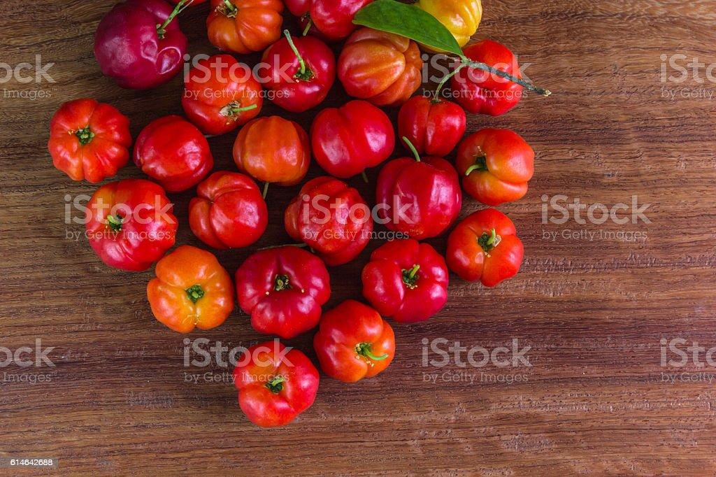 Thai cherries on the wood table stock photo