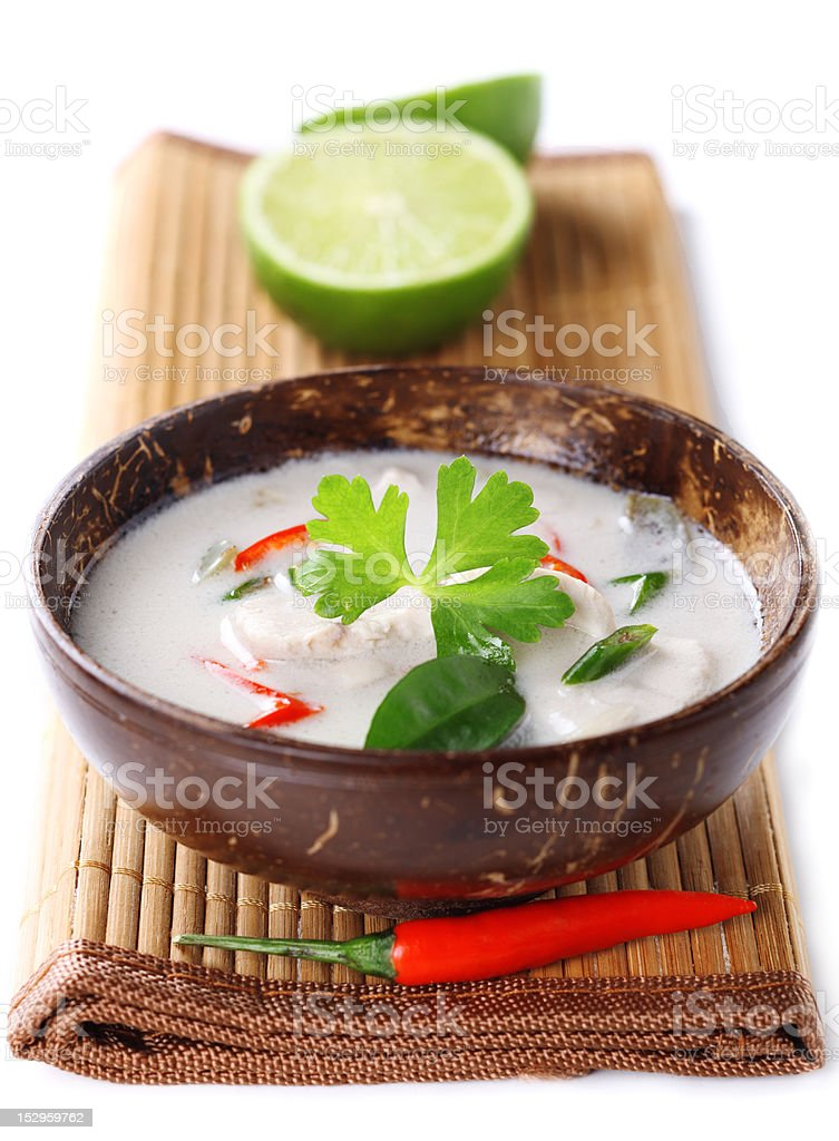 Thai chicken and coconut milk soup on white isolated background royalty-free stock photo