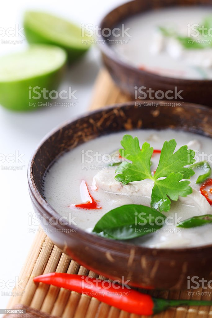 Thai chicken and coconut milk soup- Tom Ka Gai royalty-free stock photo